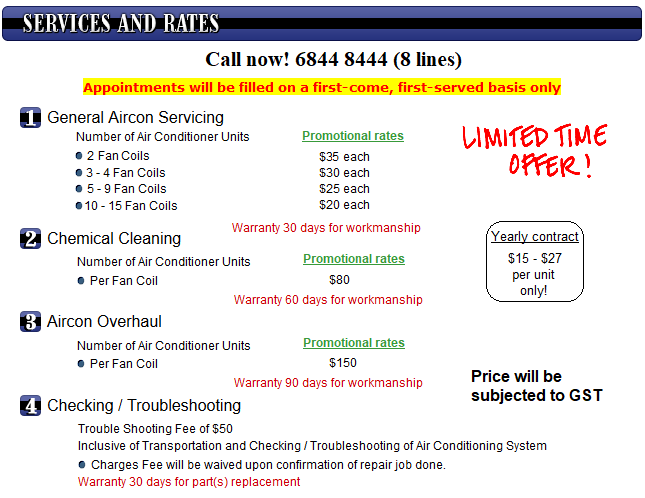 @bsolute Aircon Services Rates